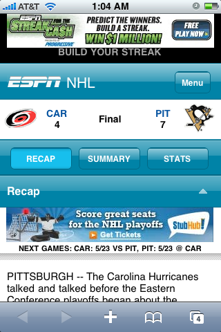 ESPN.com for iPhone Screenshot